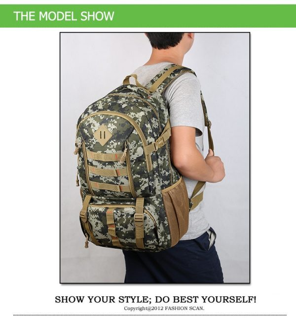 """Camo Tactical Backpack for Laptop 14"""" Military Army 50L"""
