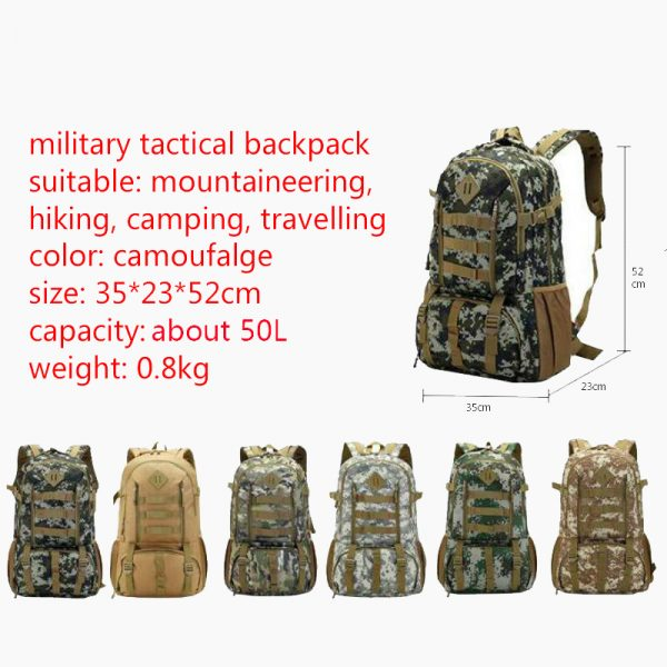 """Camo Tactical Backpack for Laptop 14"""" Military Army 50L 5"""